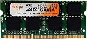 DOLGIX 8GB DDR3 PC3-10600 1333MHz SODIMM 1.5V CL9 2Rx8 Dual Rank 204 Pin Laptop Ram Memory Module Upgrade