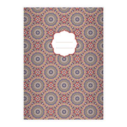 Kartenkaufrausch nobele Boho stijl DIN A4 schoolschrift, rekenschrift met etnische cirkel patroon in roze blauw liniëring 22 (geruit boek) bohemian 1 cahier Rouge Lilac