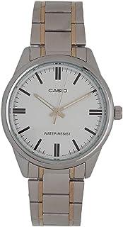ساعة كاسيو للرجال بسوار من الستانلس ستيل أبيض MTP-V005SG-7A