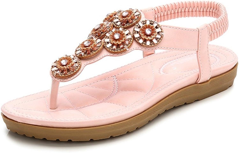 GIY Women's Bohemian Flat Flip Flops Sandals with Rhinestone Platform Comfort Elastic Summer Beach Thong