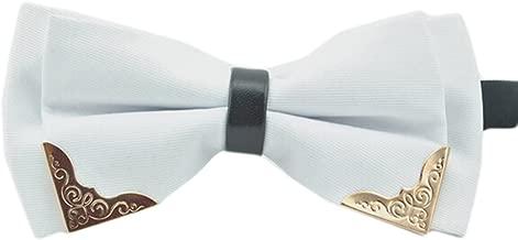 MENDENG Men's Gold Metal Burgundy Black PU Leather Satin Bow Ties Formal Bowtie