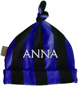 Zigozago - Cappellino con nodo a RIGHE NERO e AZZURRO con nome