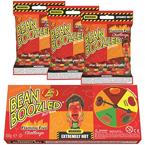 Jelly Belly Bean Boozled Set Glücksrad Flaming Five scharfeEdition 100g + drei Nachfüllbeutel 54g