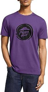 WLGUO Mens Tees Printed Short Sleeve Pizza-Hut-Logo-White-Application- Crewneck Shirt for Workout