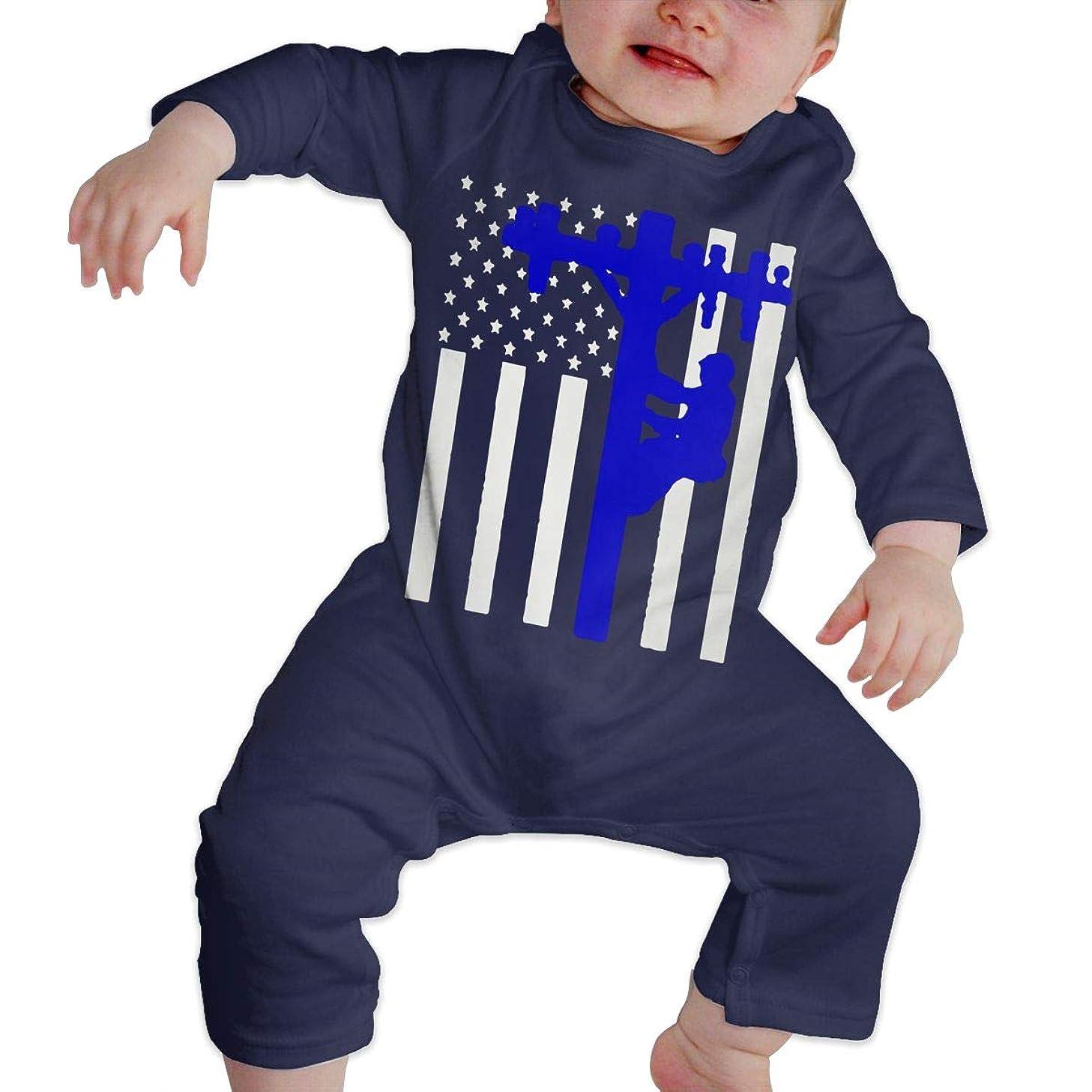 LBJQ8 American Flag Lineman Baby Girls Organic Cotton Bodysuit Jumpsuit Outfits