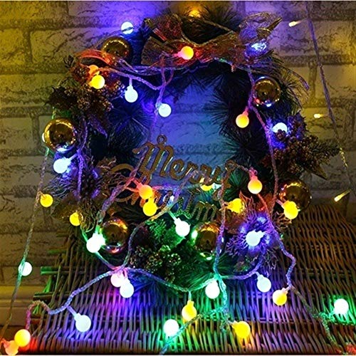 Fashion Fairy Lights, 1.2m 3m 6m 10m Cherry Ball Led Lights, Battery Driven String Lights for Wedding Outdoor Terrace Coffee Shop (Color : Multicolor, Size : 10M 80LEDS)