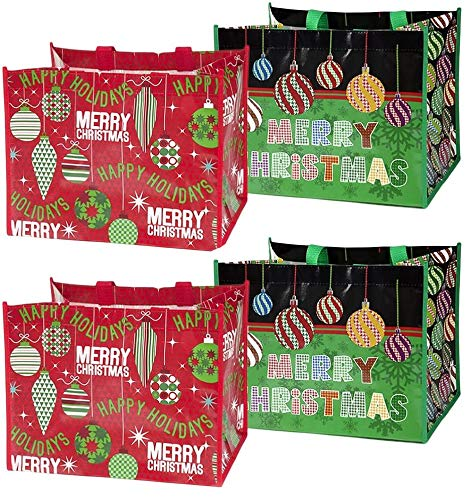 12 Large Christmas Tote Bags with Handles 12.75' Wide X 9.75' High X 9.5' Deep Extra Wide Large Giant Gift Bags Reusable for Holiday Grocery Shopping Bags
