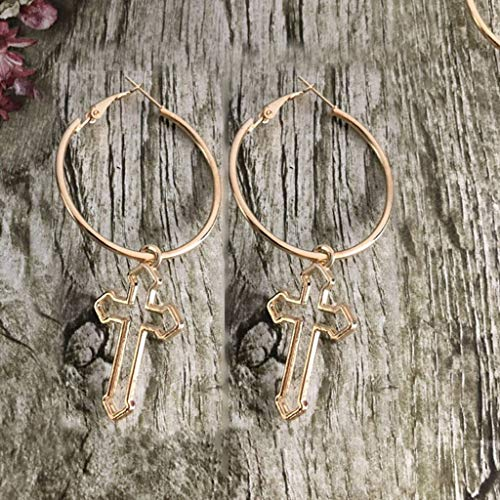 Leiouser Hollow Cross Dangle Pendientes Harajuku Metal Geométrico Pendientes de gota Pendientes de joyería