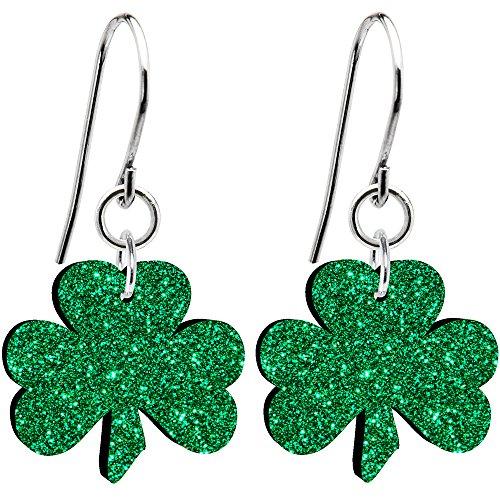 Body Candy Green Glitter Luck Clover Irish Shamrock Earrings