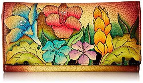 Anna by Anuschka Hand Painted Leather | Multi Pocket Clutch / Wallet |...