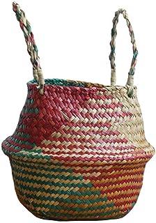 ZTMN Panier à Linge en jonc de mer Panier de Fleurs en rotin Naturel Vase Planter Nursery Belly Basket Straw Toys Organize...