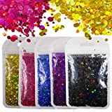 50g Holographic Round Chunky Glitter Sequins Holo Laser Gold Black Mixed Spot Confetti Flakes Crafts Paints Resin Arts Accessories Acrylic Nail Art Establishment Supplies DIY Decor (Round Spot)