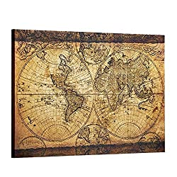 Decor MI Vintage World Map Canvas Wall Art Retro Map of The World Canvas Prints Framed and Stretched for Living Room Ready to Hang 24x35