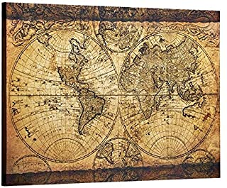 "Decor MI Vintage World Map Canvas Wall Art Retro Map of The World Canvas Prints Framed and Stretched for Living Room Ready to Hang 24""x35"""