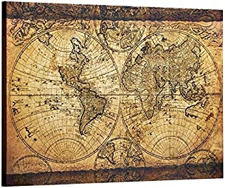 Decor MI Vintage World Map Canvas Wall Art Retro Map of The World Canvas Prints Framed and Stretched for Living Room Ready to Hang 24