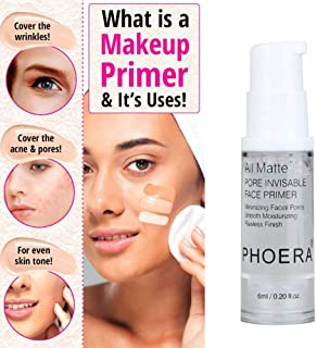 PHOERA Face Primer Natural Matte Makeup Foundation Primer Pore Invisible Oil-control Cosmetic, Great Choice and Gift for Girls.
