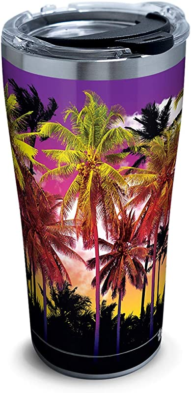 Tervis 1297963 Tropical Collection Beach Sunset Stainless Steel Insulated Tumbler With Clear And Black Hammer Lid 20oz Silver
