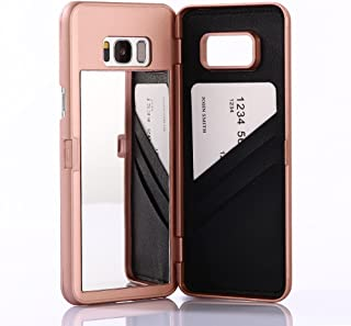W7ETBEN Galaxy S8 Plus Case,Hidden Back Mirror Wallet Case with Stand Feature and Card Holder for Samsung Galaxy S8 Plus (Rose Gold)