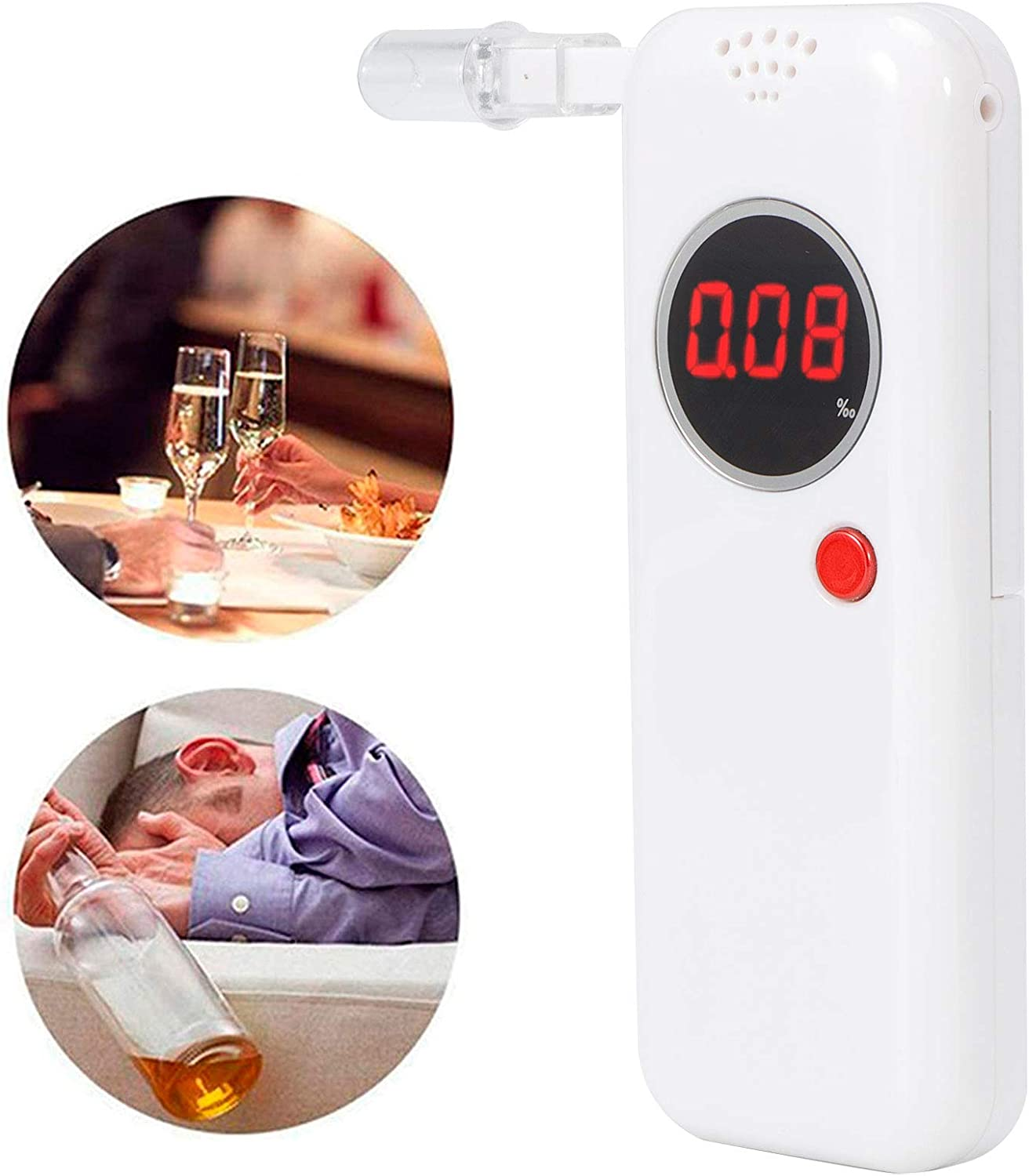 with 6 Mouthpieces and Cloth Bag Semiconductor Energy Saving Drunk Driving Tester for Weddings Banquets Social Event Parties White High‑Accuracy Breath Tester