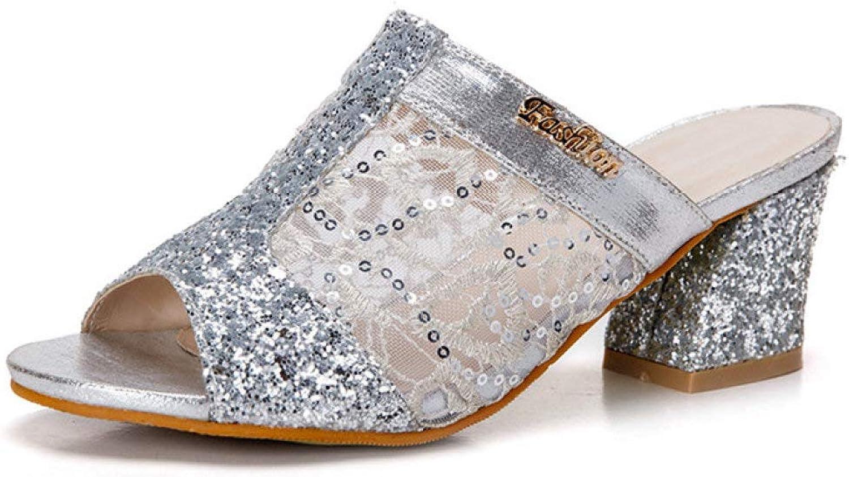 MEIZOKEN Women's Glitter Crystal Peacock Patterned Sandals Peep Toe Chunky Heel Pump Sandal Slippers
