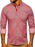 BOLF Hombre Camisa a Cuadros de Manga Larga Cuello Americano Camisa de Algodón Slim fit Estilo Casual 9712 Rojo XL [2B2]