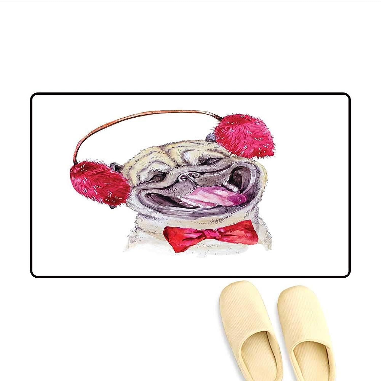 Door-mat Watercolor Drawing of Dog with Furry Winter Headphones and a Bow Tie Happy Cute Animal Door Mats for Inside Bathroom Mat Non Slip Pink Beige 24 x36