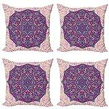 ABAKUHAUS Mandala púrpura Set de 4 Fundas para Cojín, Cosmos Floral, Estampado Digital en Ambos Lados y Cremallera, 40 cm x 40 cm, Crema pálido Rosa Magenta