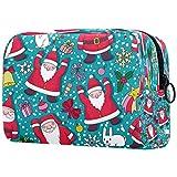 Navidad Santa Claus bolsa de maquillaje bolsa organizador para viaje portátil neceser para niñas y mujeres