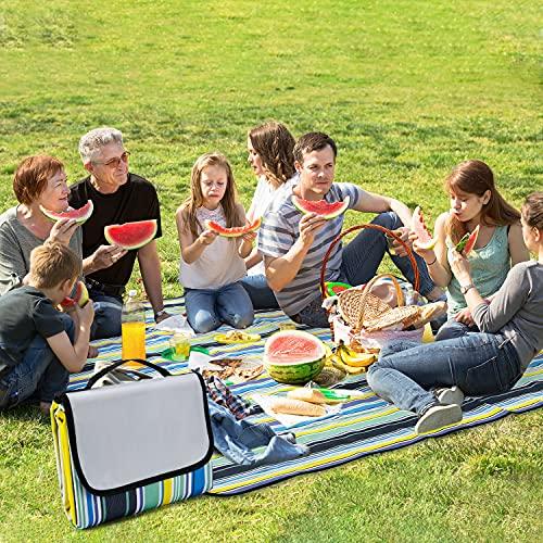 TKLake Picknickdecke 150 x 200 cm,Outdoor Stranddecke wasserdichte sanddichte tolle Picknick-Matte Campingdecke,Faltbar Leicht mit Tragegriff Matte,Picknickmatte (150 * 200 cm,A-Blau Streifen)