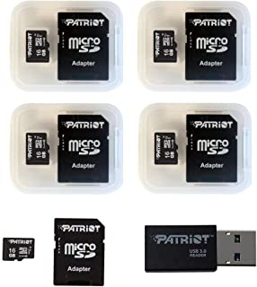 Patriot Memory 16GB Micro SDHC, 5 Pack with Card Reader (PSF16GMCSD5PKCM)
