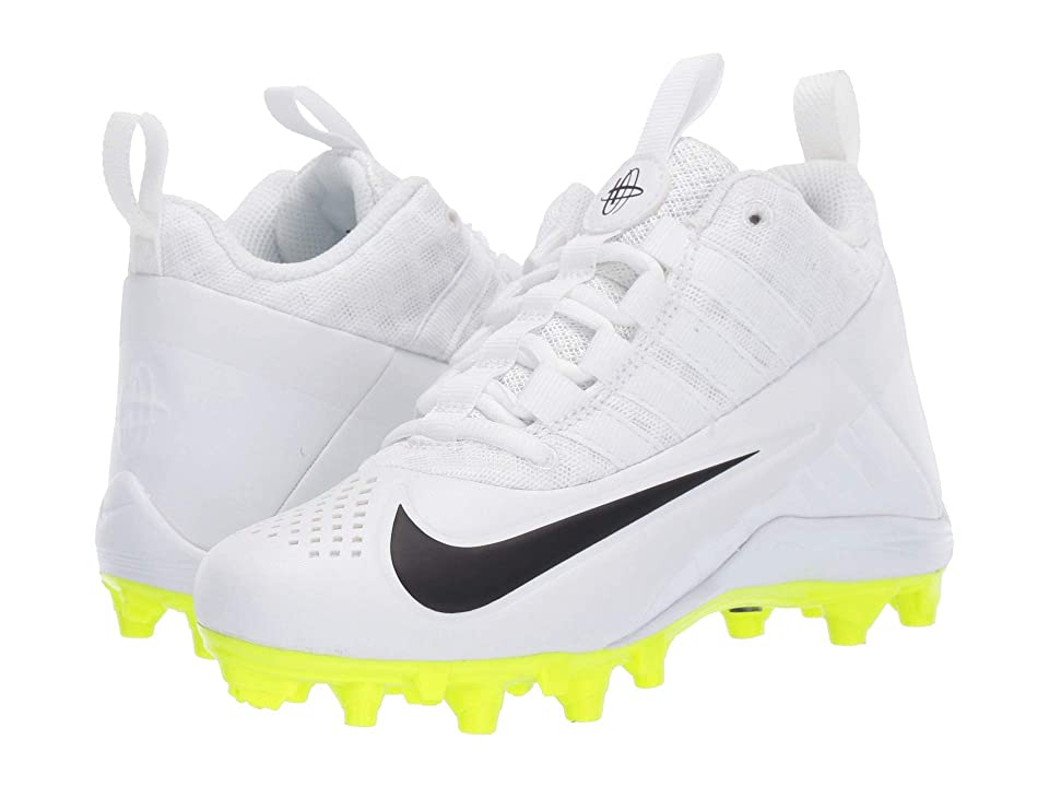 Nike Kids Alpha Huarache 6 Lacrosse (Little Kid/Big Kid) (White/White/Black/Volt) Kids Shoes