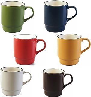 家族みんなでお揃いで使える!食卓が楽しくなっちゃうスタックマグ6色セット 赤・青・緑・黄・白・茶