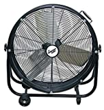 Comfort Zone CZMC24 HBCLCZMC24 Industrial Drum Fan, 24' Barrel-Direct Drive, Black