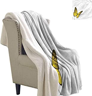 Williasm Yellow Lightweight Fluffy Flannel and Sherpa Blanket Romantic Spring Bug 60x47 Inch
