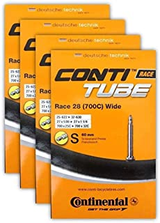Continental Race 28 700x25-32c Bicycle Inner Tube Bundle - 60mm Presta Valve - 4 Pack w/ Conti Sticker