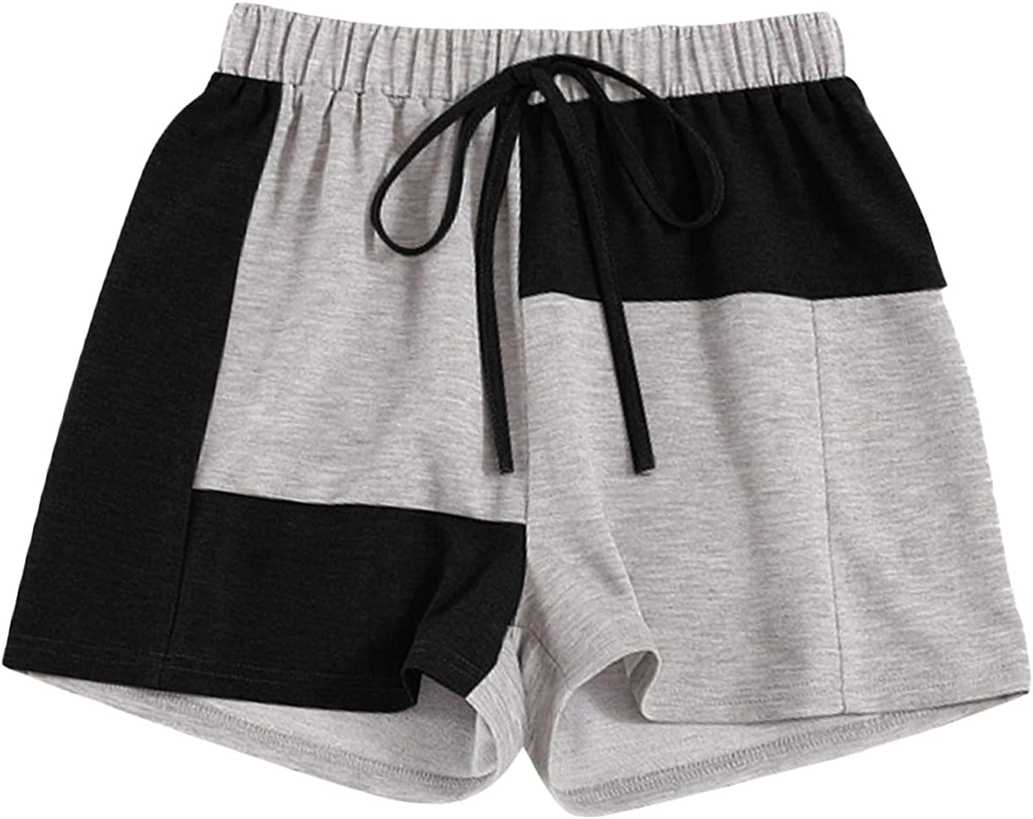 MakeMeChic Women's Colorblock Tie Front Elastic Waist Shorts Casual Track Shorts