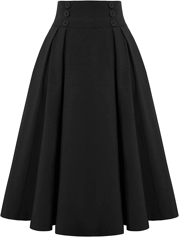 Bolayu Women's Casual Flowy Dress Long Maxi Skirt High Waist Pleated Midi Skirt