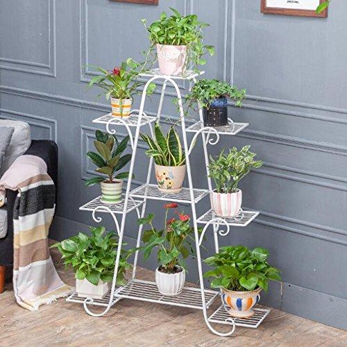 CKH Fragrant Multi-Couche Balcon intérieur en Fer forgé en Bois Massif Salon Espace Pot de Fleur au Sol Vert Radis Rack Blanc
