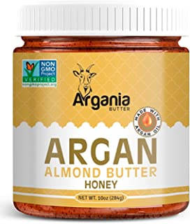 Argania Butter Honey Almond Butter With Superfood Organic Edible Argan Oil - No Gluten , Kosher, Non GMO, No Palm Oil, No Dairy, No Peanuts, Keto Friendly, Low Carb. 10 Ounces