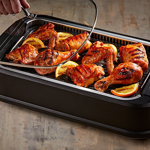 Power XL Smokeless Electric Indoor Removable Grill and Griddle Plates, Nonstick Cooking Surfaces, Glass Lid, 1500 Watt, 21X 15.4X 8.1, black