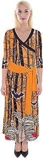 Womens Halloween Outfit Hot Hawaiian Floral & Aztec Damask Print 3/4 V Neck Wrap Maxi Dress