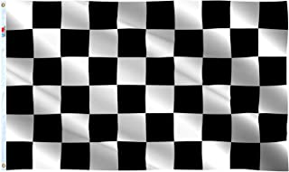 rhungift New Checkered Flags 3x5 Ft,Canvas Header and Double Stitched - Brass Grommets for Easy Display,Black and White Ra...
