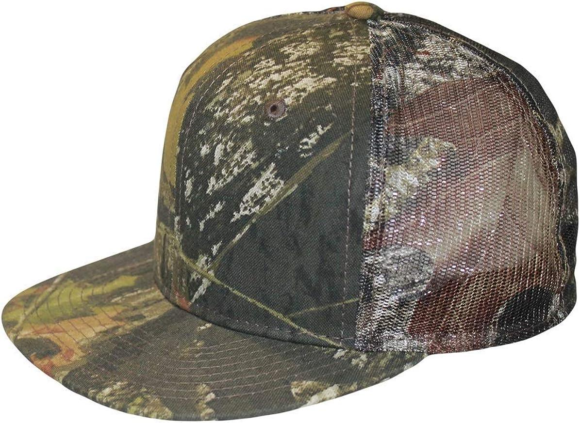 Mossy Oak Camo Trucker Cap Hat Mesh Snapback CF2 Flat or Curved Visor Bend to Preference or Wear Flat - Q3 Inner Wicking Sweatband