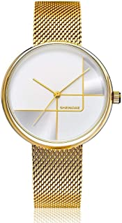 Wangyr Women's Girl Ultra-Thin 9.5mm Quartz Watch 34mm Stainless Steel Mesh with Simple Fashion Waterproof Gold Pink Silver Holiday Gift Unique Fashion Classic Casual Luxury Business Dress