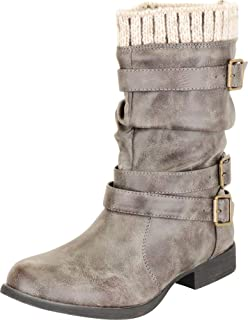 Cambridge Select Women's Sweater Knit Cuff Crisscross Strappy Slouch Low Heel Ankle Boot