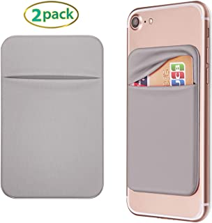OBVIS Cell Phone Self Adhesive Card Holder Stick On Wallet with 3M Adhesive RFID Card ID Credit Card ATM Card Holder for iPhone Android (2pack Gray)