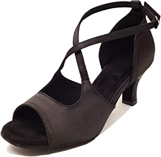 "HXYOO Indoor Dance Shoes Women for Latin Ballroom Salsa Floral Satin 3"" 2.5"" 2"" Heel"