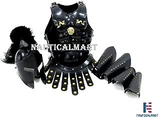 NauticalMart 300 Spartan Muscle Armor with Helmet Maximus Leather Leg or Arm Guard Custom Size