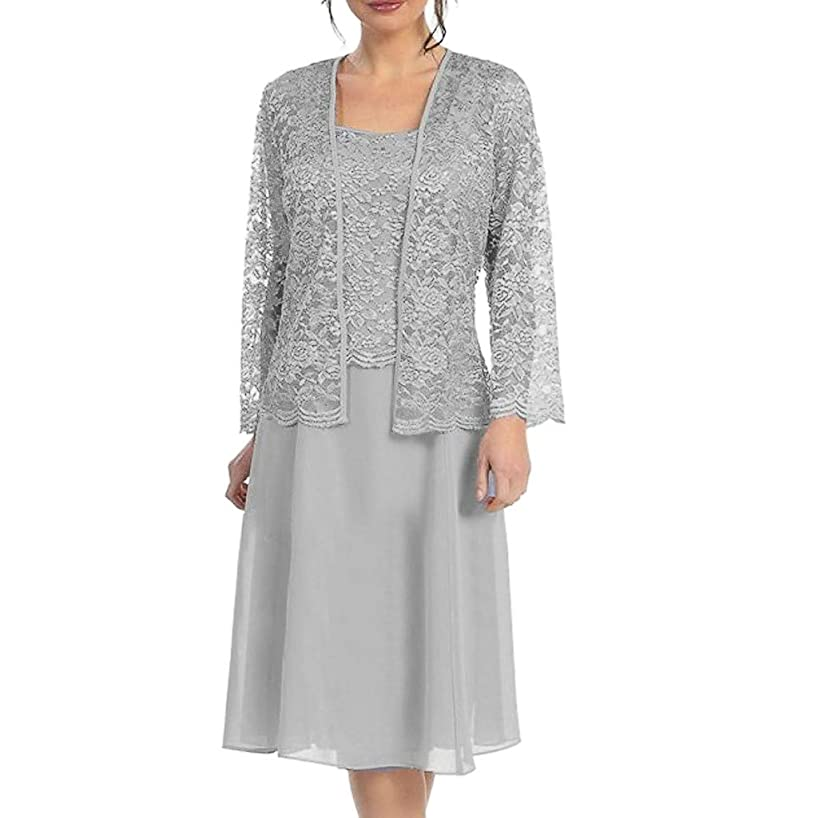 Larmly Two-Piece Lace Patchwork Dress Solid Color Long Sleeve Dress Women's Casual Midi Dress Knee-Length Soft