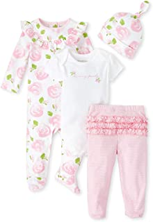 The Childrens Place Baby Girls 4 Piece Layette Set